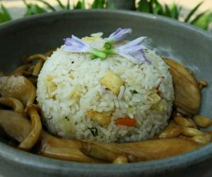 mushrooms and rice at Templation