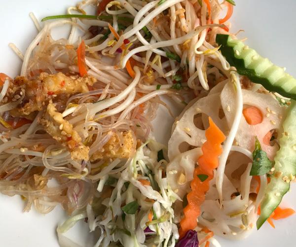 vegan salad buffet at Quan Bo De Hanoi