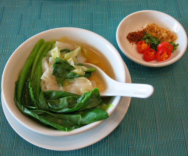 Vegan noodle soup for breakfast at Anantara Riverside Bangkok Resort
