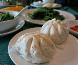 Steamed Chinese buns for breakfast at Anantara Riverside Bangkok Resort