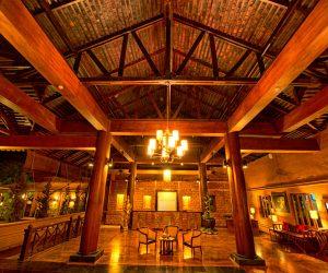 The lobby at Bagan Lodge