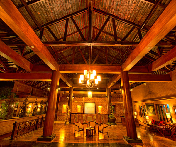 The lobby at Bagan Lodge