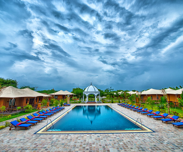 Stunning swimming pool at Bagan Lodge