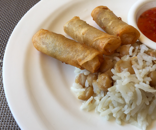 Fried vegetable spring rolls, rice and chick peas at Bagan Lodge