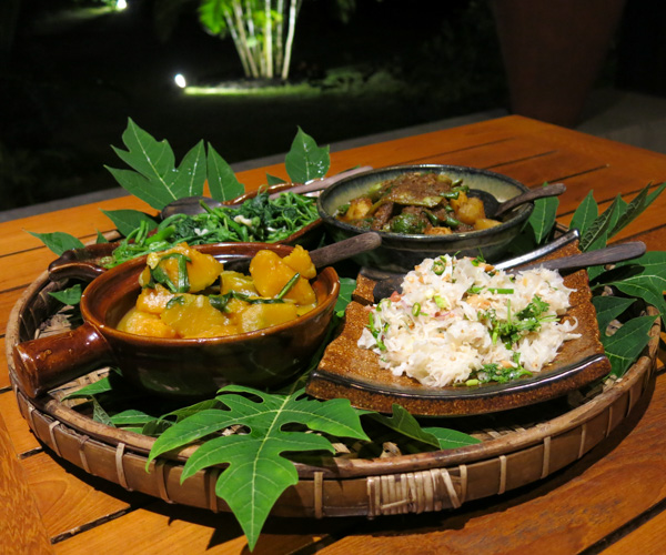 Selection of vegan food at Eskala Resort