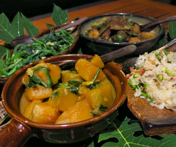 Golden pumpkin vegan curry at Eskala Resort