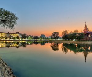 Hilton Mandalay accross the moat surrounding the Royal Palace