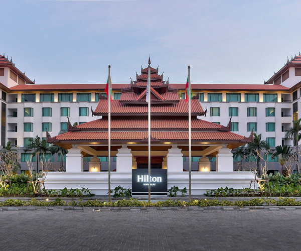 The facade of Hilton Mandalay