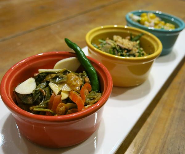 Vegan dips in Moat Restaurant at Hilton Mandalay