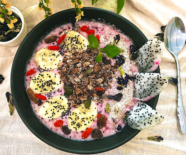 Acai & Red Berry smoothie bowl at Nourish Cafe Yangon