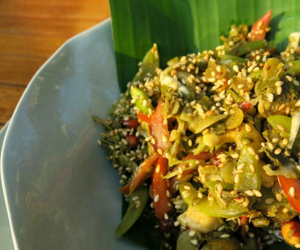 Tea leaf salad at Sanctum Inle Resort