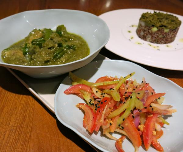 Tomato salad at Sanctum Inle Resort