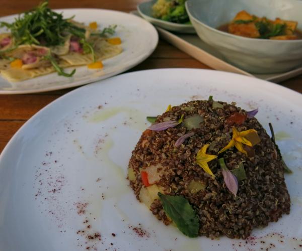 Vegan quinoa dish at Sanctum Inle Resort
