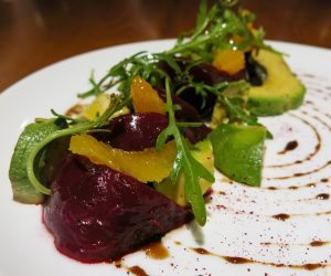 Beetroot, orange and avocado salad at