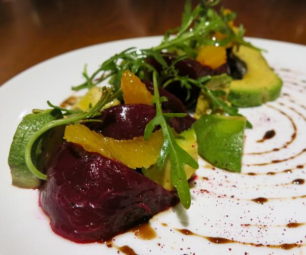 Beetroot, orange and avocado salad at