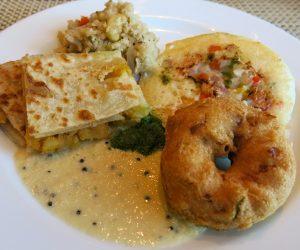 Southern Indian vegan food for breakfast at Sule Shangri-La Yangon
