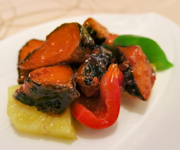 Sweet and sour vegan fish at Sule Shangri-La Yangon