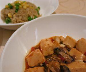 Tofu and fried rice at Sule Shangri-La Yangon