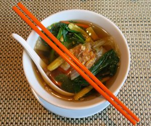 Vegan noodle soup at Sule Shangri-La Yangon
