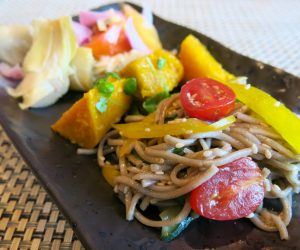 Soba noodle salad for breakfast at Sule Shangri-La Yangon
