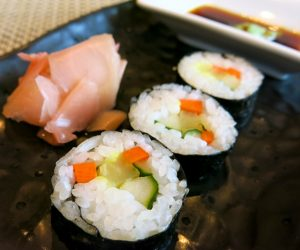 Vegan sushi for breakfast at Sule Shangri-La Yangon