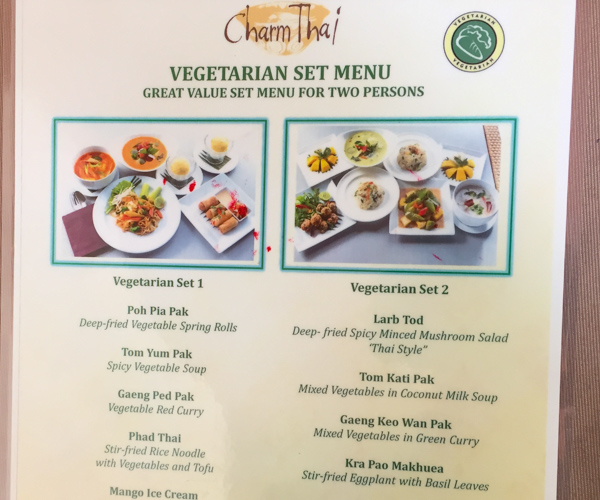 vegetarian set menu at Charm Thai in Phuket