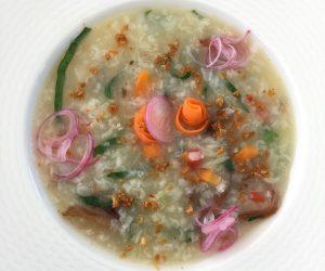 Vegan congee at 7 Secrets Resort