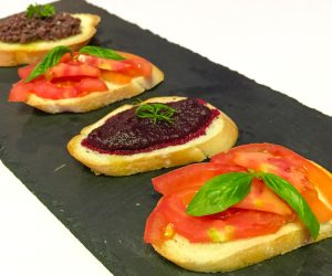 Trio of vegan crostini at 7 Secrets Resort