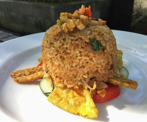 Vegan nasi goreng at Diamond Beach Villa