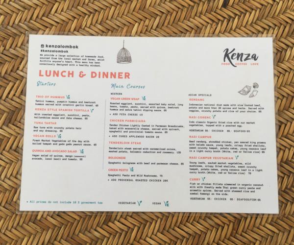 Kenza in Kuta menu 1