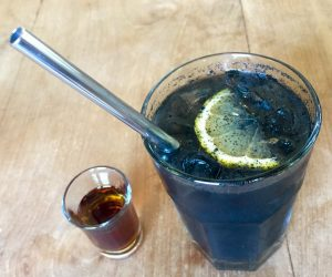 The Banyan Tree Gili T activated charcoal lemonade
