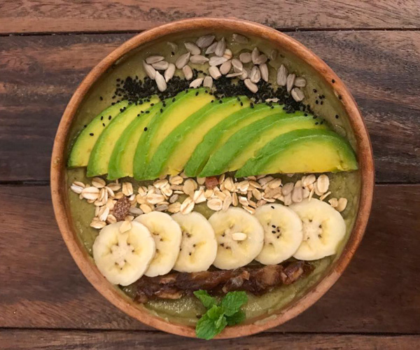 Sacred Lotus Phnom Penh avocado smoothie bowl