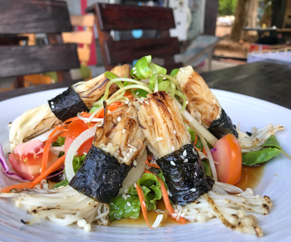 Tofu Kitchen Koh Chang vegan mushroom salad