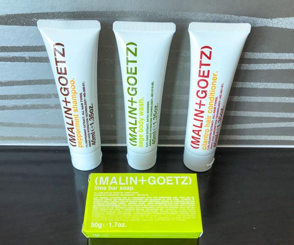 vegan amenities from Malin + Goetz