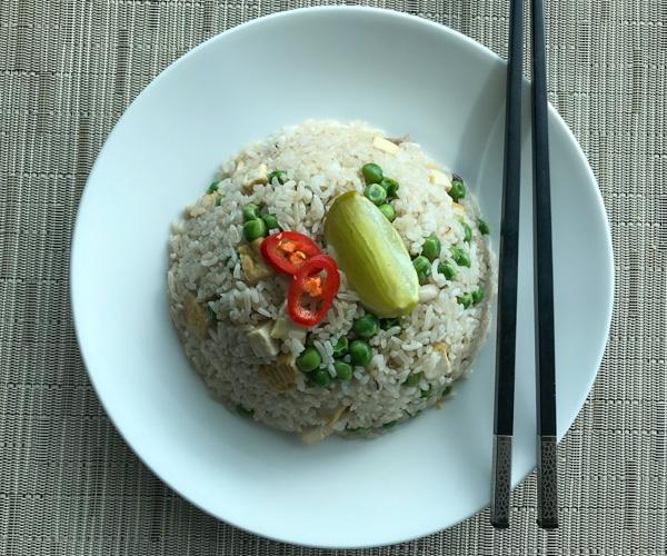 vegan fried rice with tofu