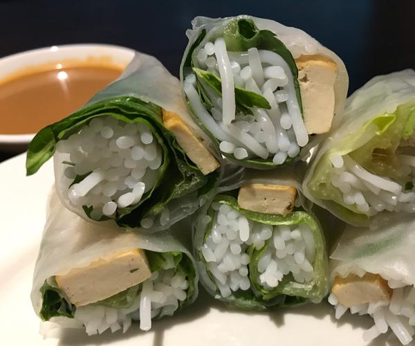 Vietnamese vegan fresh spring rolls