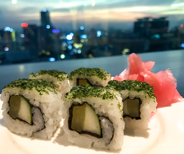 vegan sushi with view of the skyline