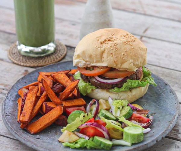 sacred lotus food - vegan burger
