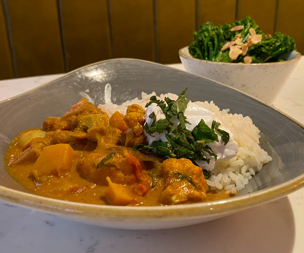 Hilton Bankside vegan curry