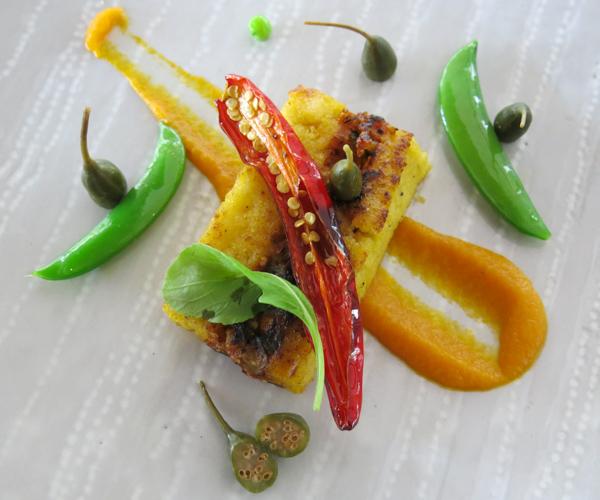 vegan polenta at Sofitel Angkor