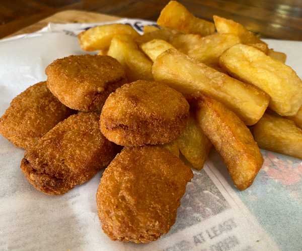The Chippy vegan nuggets and chips